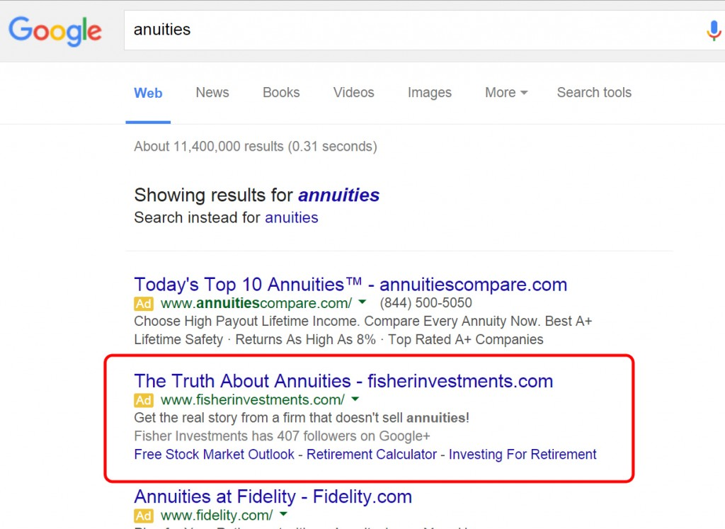 Google Search Result on annuites