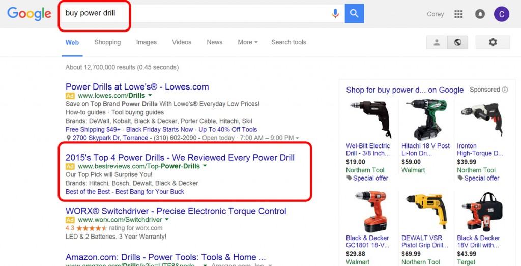 Google Search Result on buy power drill