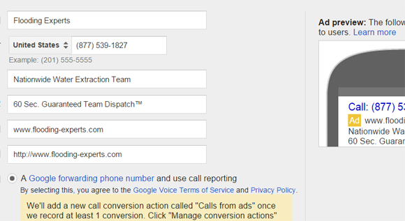 Call only Ad Copy Development Screen