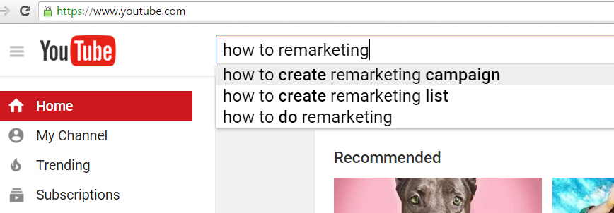 Youtube search about remarketing