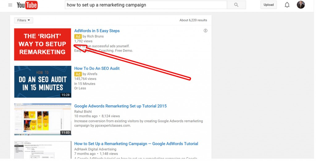 Youtube search result on remarketing campaign