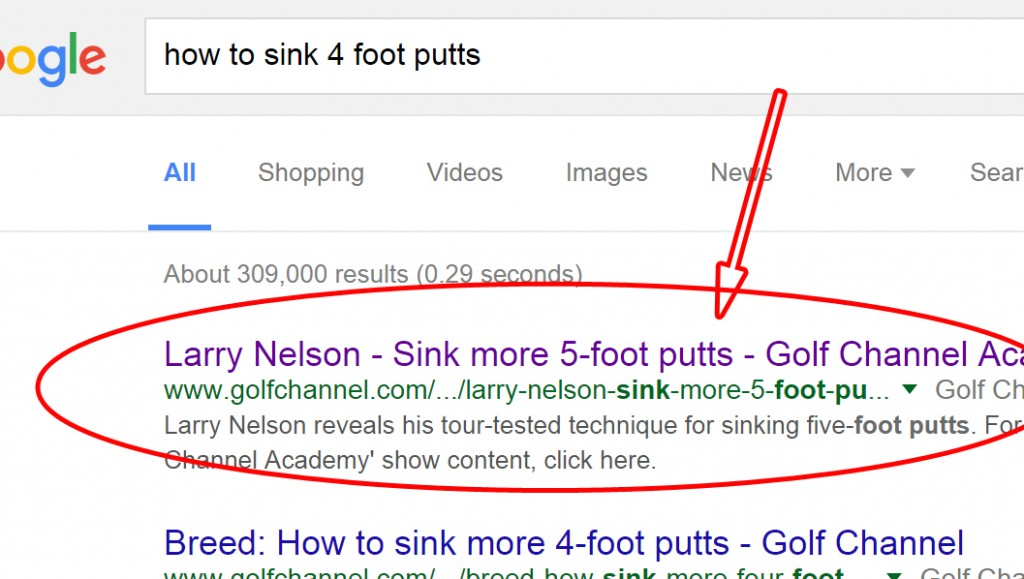 Google search result on how to sink 4 foot putts