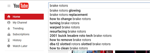 Youtube search Ads Brake rotors