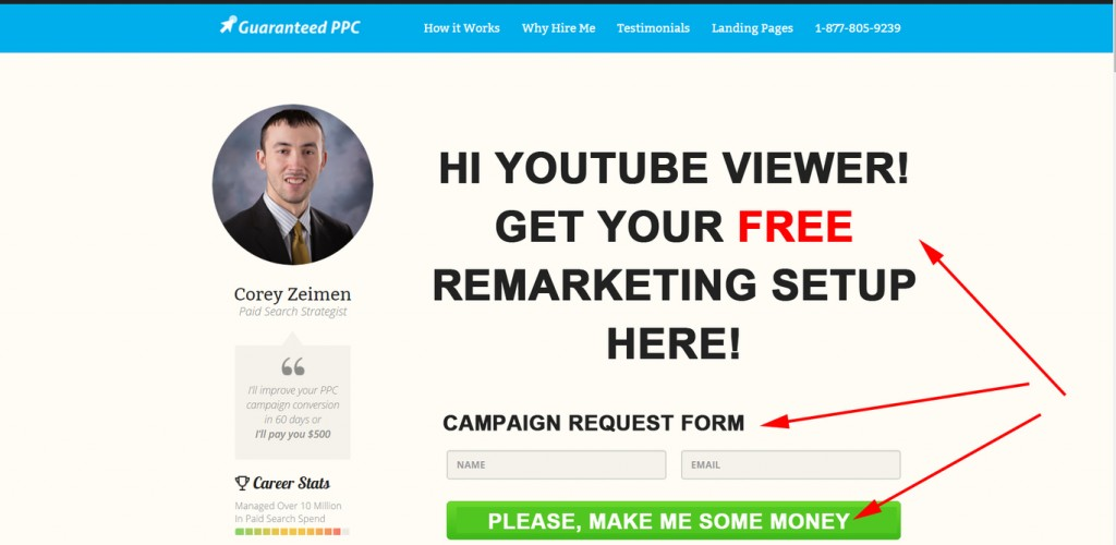 GuaranteedPPC Landing Page to Generate a Conversion
