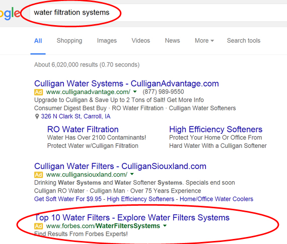 Google search result on water filtration systems