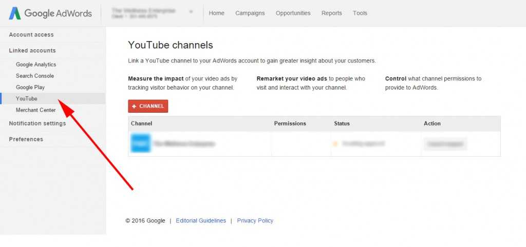 Linking YouTube Channel to AdWords