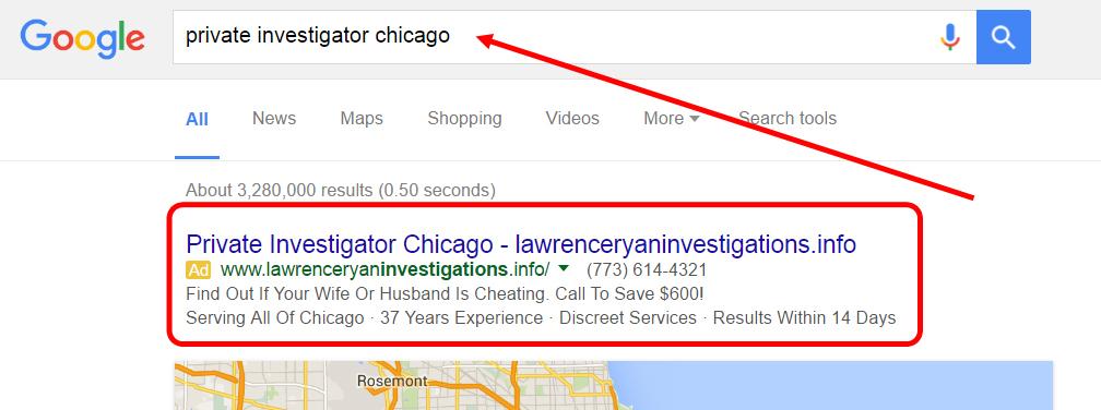 Google Search Result on private investigator chicago