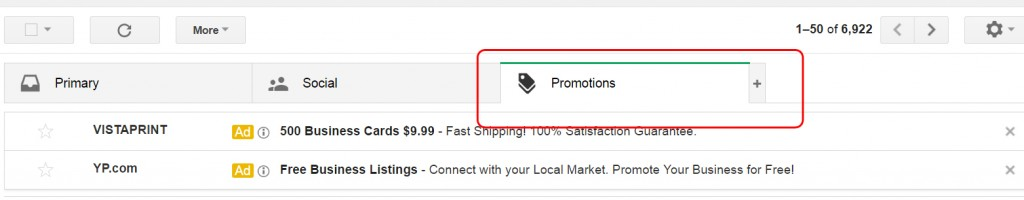 promotions tab in Gmail