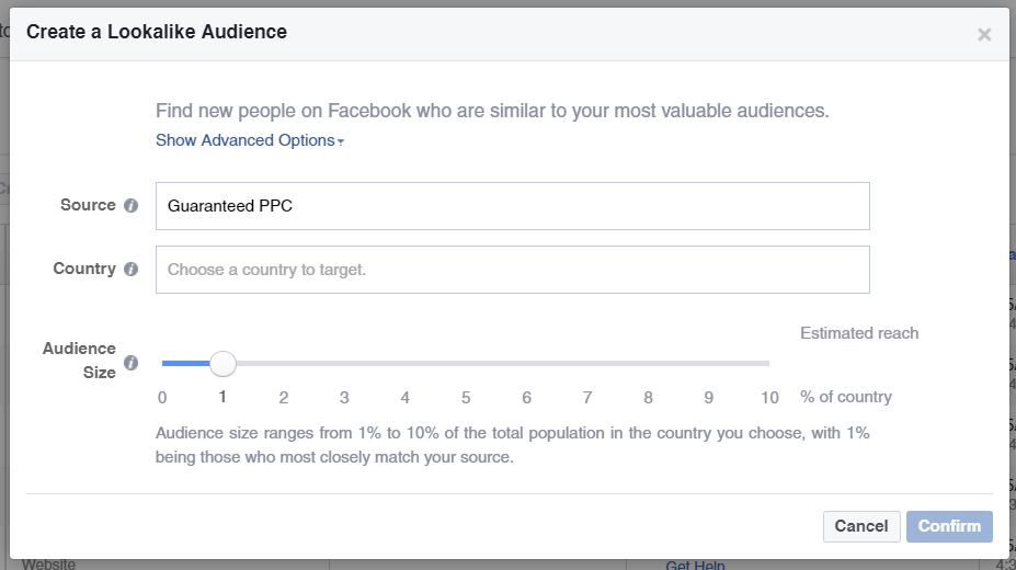 Interface for Look a like Audiences