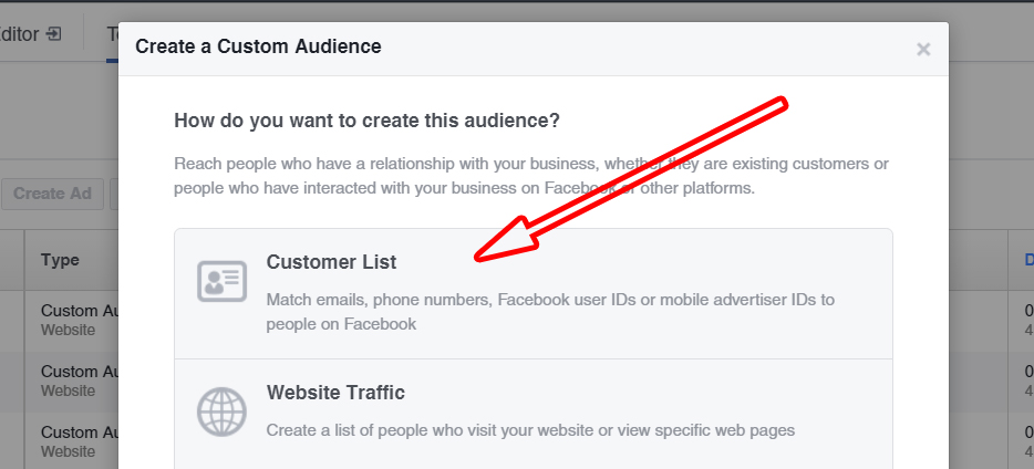 Interface for Custom Audience