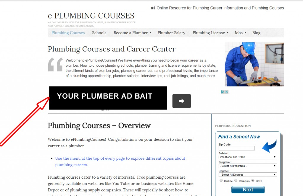 Sample for Plumber Ad Bait