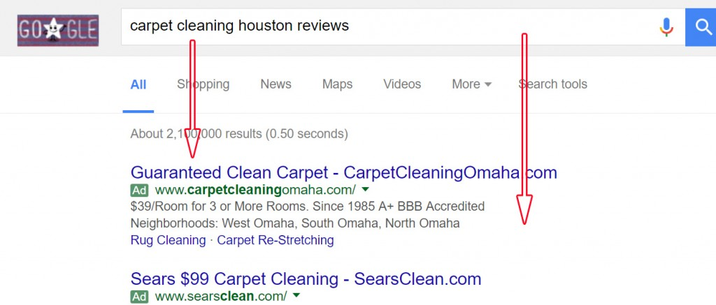 Google Search Ads on carpet cleaning