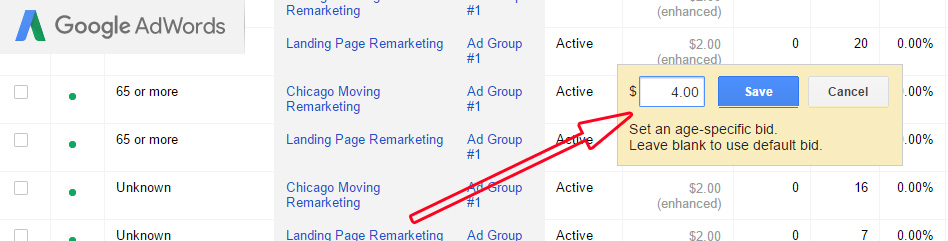 Demographics Adwords