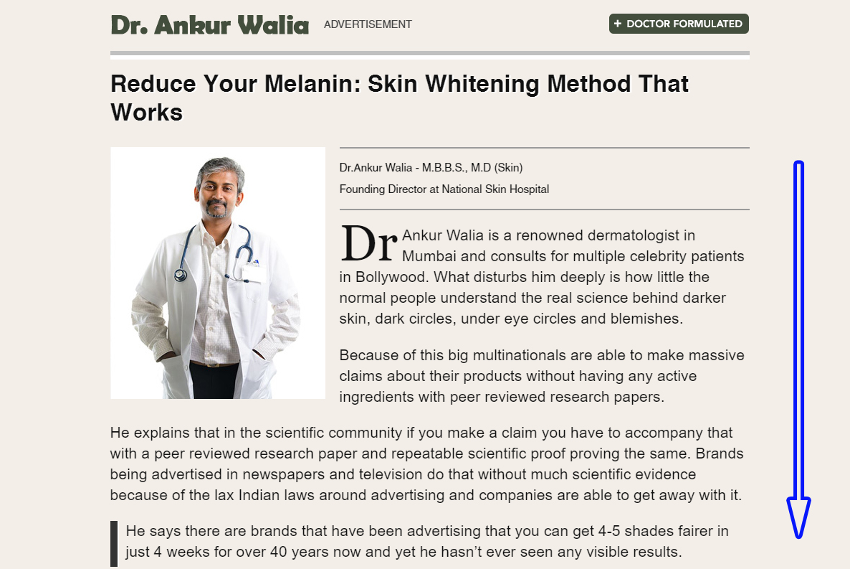 Dr. Ankur Walia Faux advertorials sample