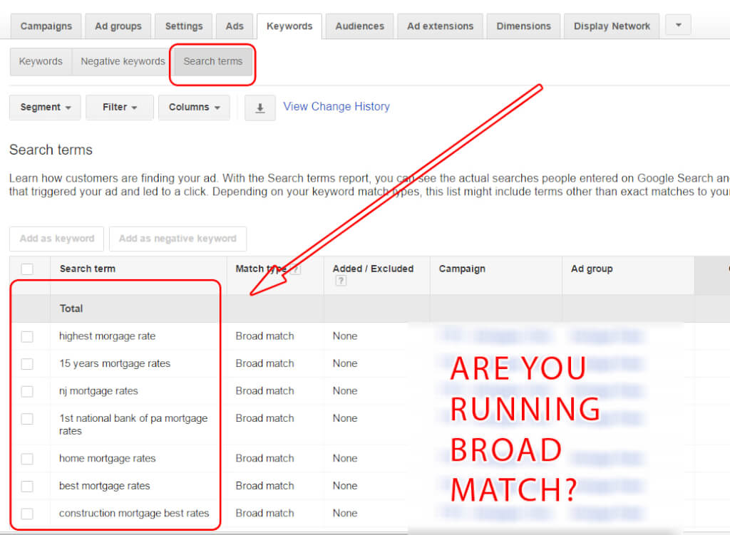 Search Items in Adwords Account