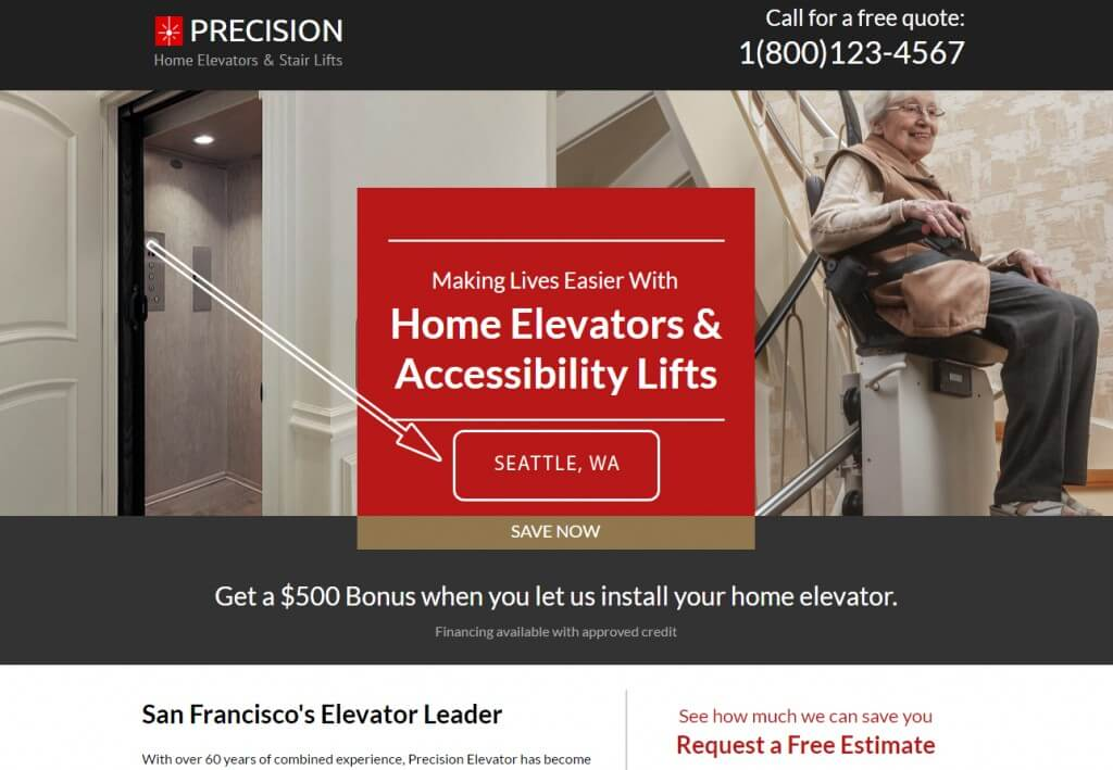 Landing Page of Precision Home Elavators & Stair Lifts (1)