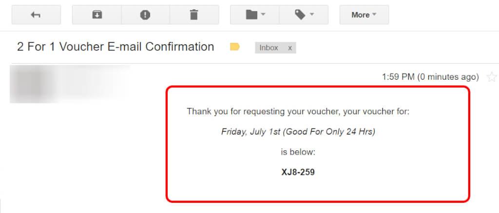 Sent Email Voucher