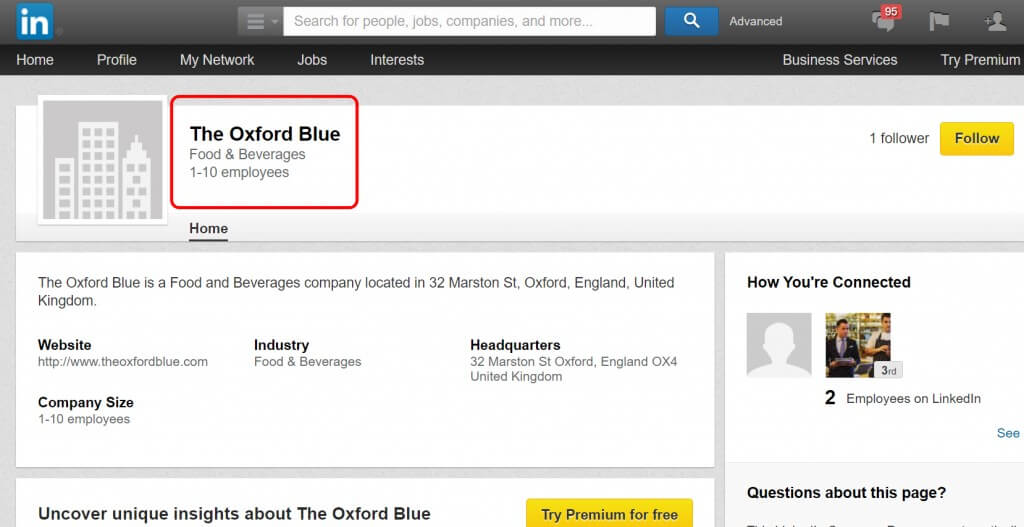 The Oxford Blue LinkedIn Page