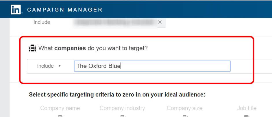 Example Target in LinkedIn