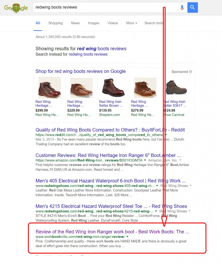 Google search result on redwing boots reviews