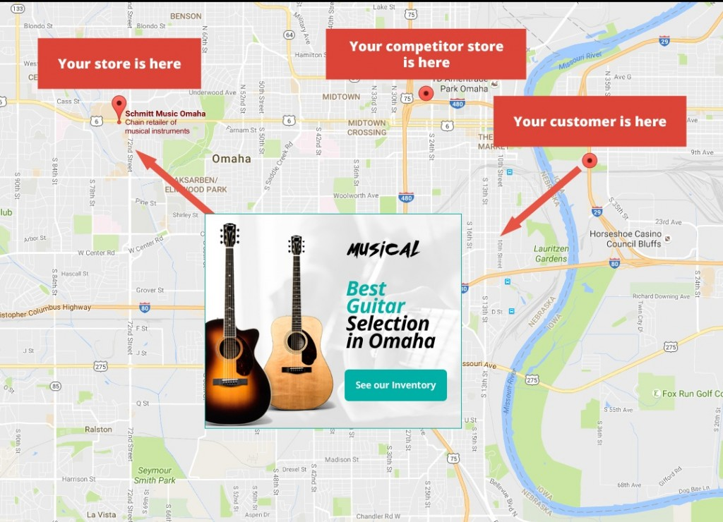 Google Maps that leads the store of the best guitar