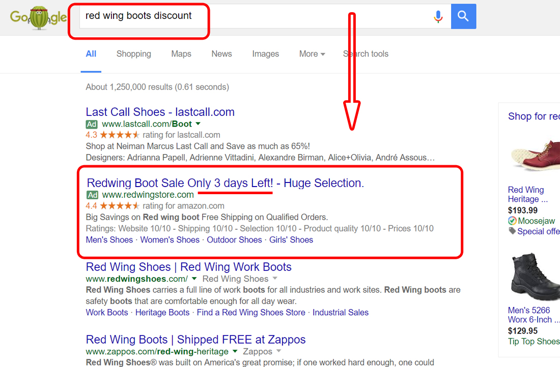 Google search result on red wing boots discount