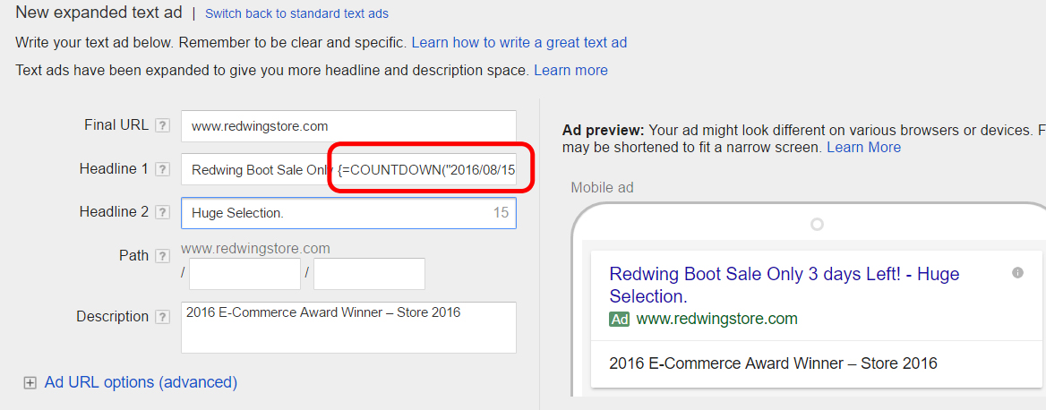 Automating a countdown sale with Adwords