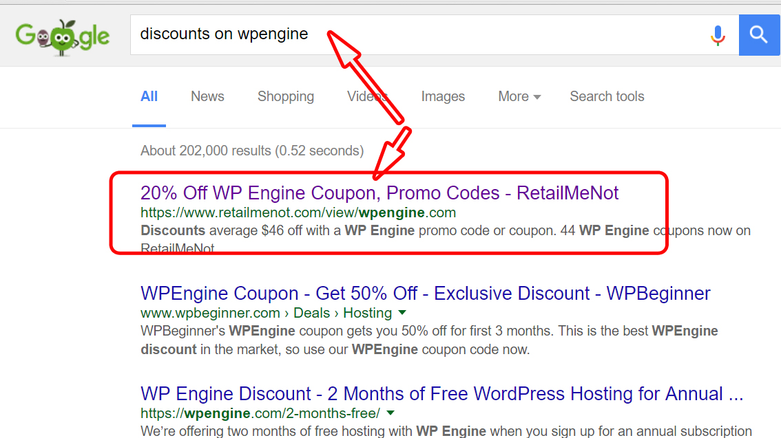Google search result on discount on wpengine