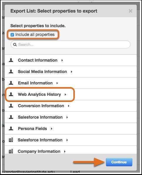Select Properties to Export lIst