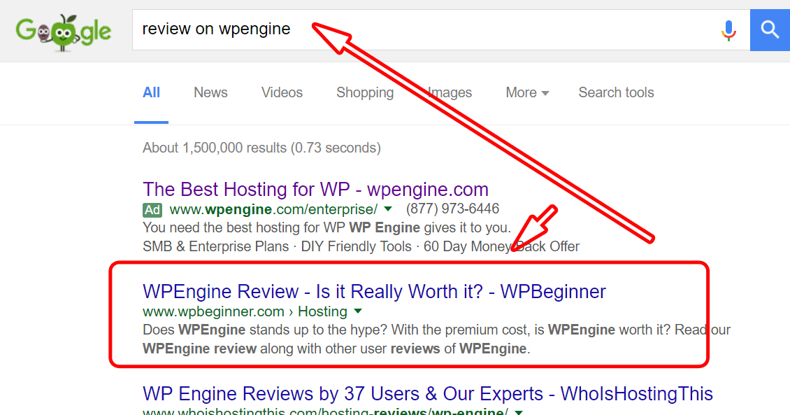 Google search result on review on wpengine
