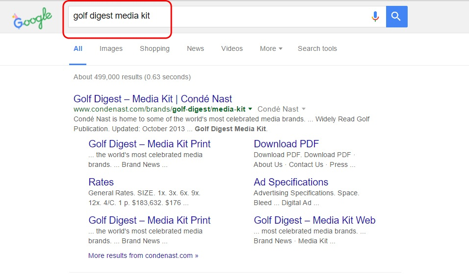 Google Search for Golf Digest media kit