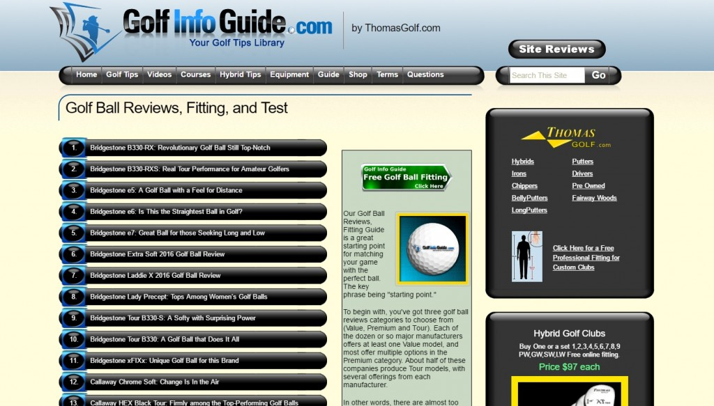 Golf Info Guide Home page