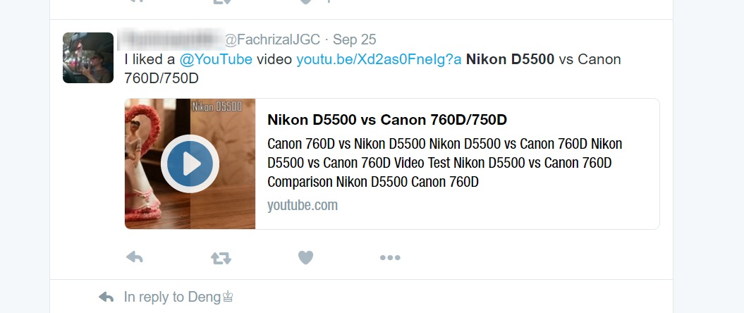 Twitter Post about Nikon D5500 vs. Canon 760/750D