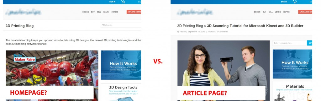 3D Printing blog Home page vs. Article page