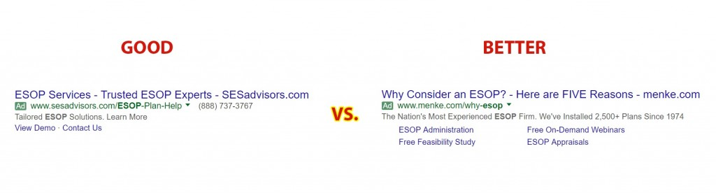 Google Search result Comparing ESOP Services