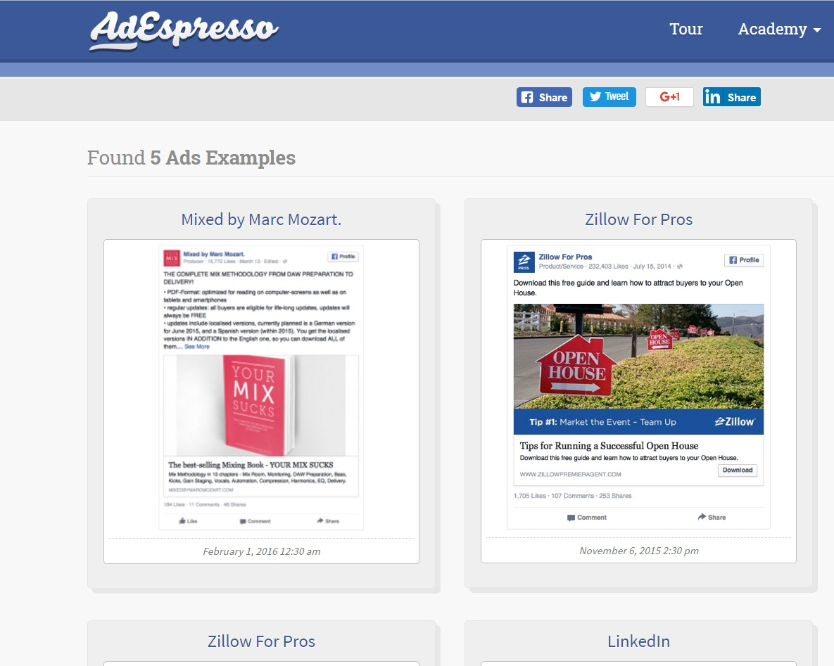 Facebook Ad Spying using AdEspresso