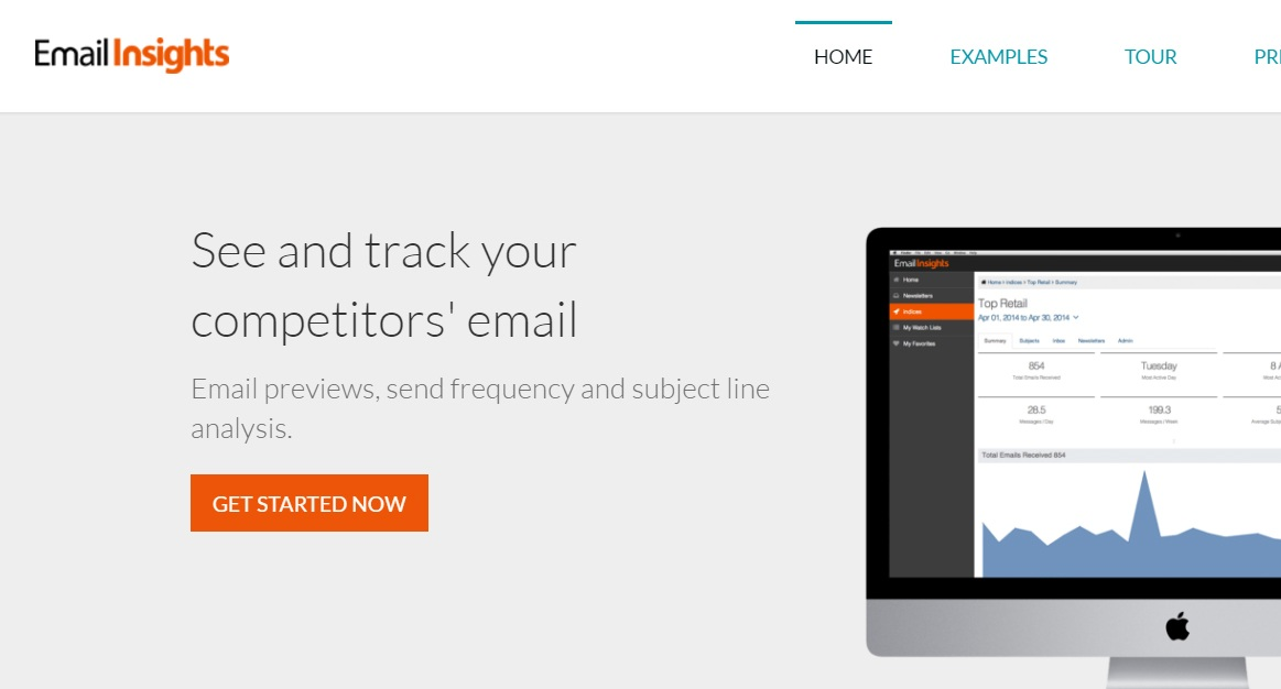 EmailInsights Home page