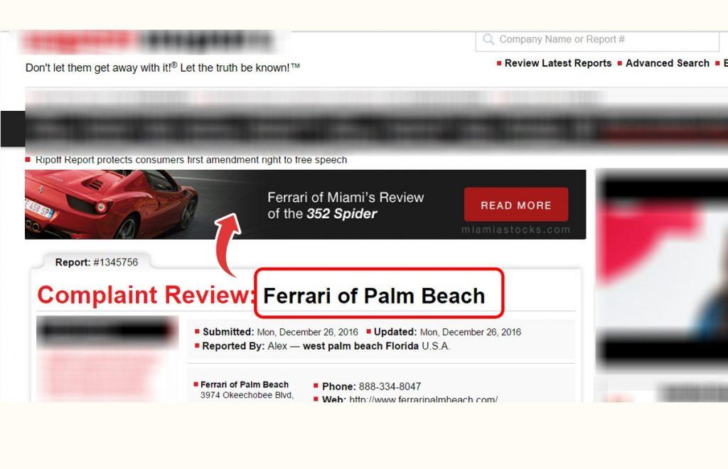 Complaint Review on Ferrari of Palm Beach