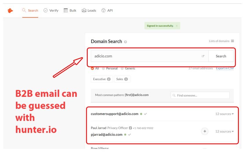 Hunter.io Domain Search