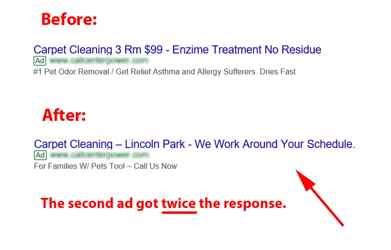 Before and After Search Ad about Carpet Cleaning