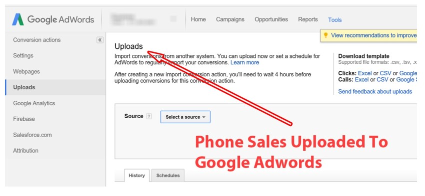 Phone Sales Uploaded to Google Adwords