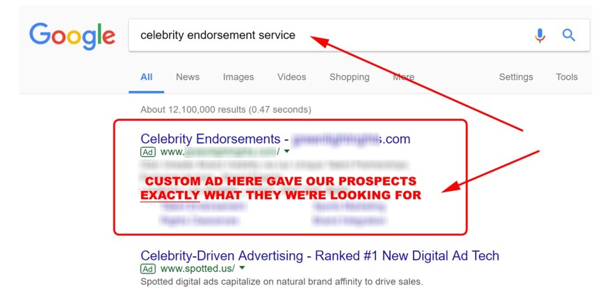 Google Search about Celebrity endorsement service