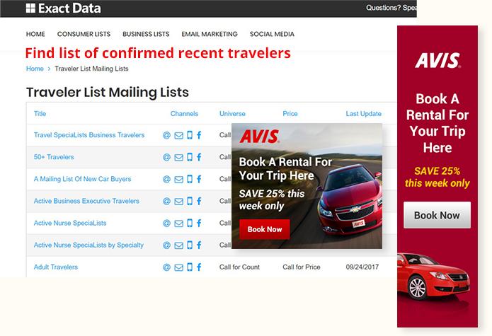Traveler List Mailing List Sample in ExactData