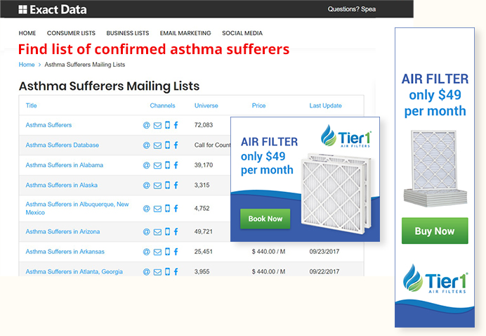 Asthma Sufferers Mailing Lists Sample in ExactData